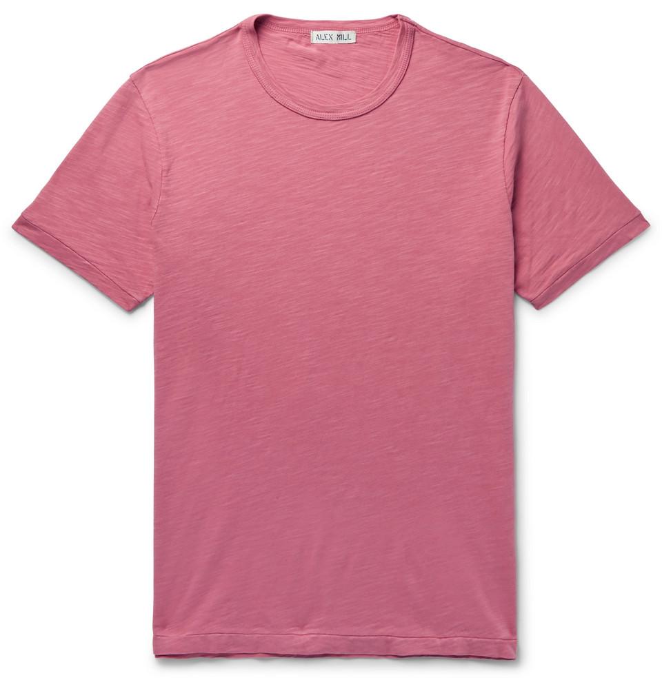 Slim-fit Slub Cotton-jersey T-shirt - Pink