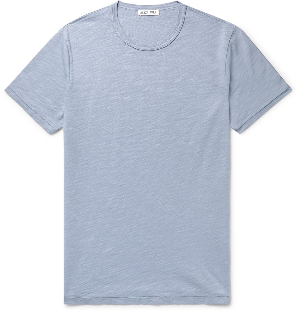 Slim-fit Slub Cotton-jersey T-shirt - Blue