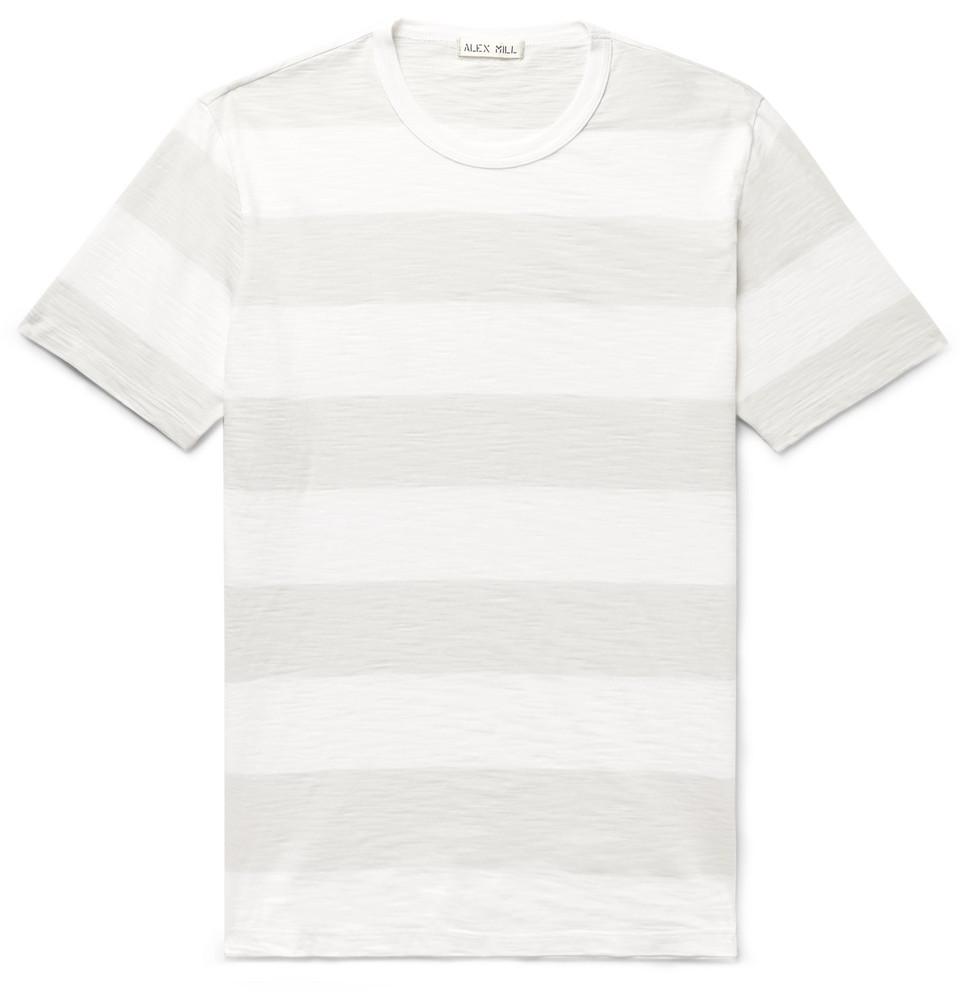 Slim-fit Striped Slub Cotton-jersey T-shirt - Light gray