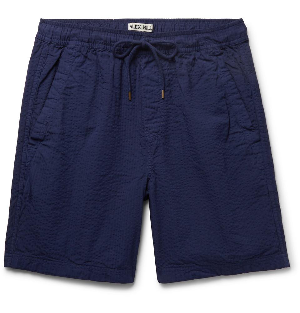 Cotton-seersucker Drawstring Shorts - Navy