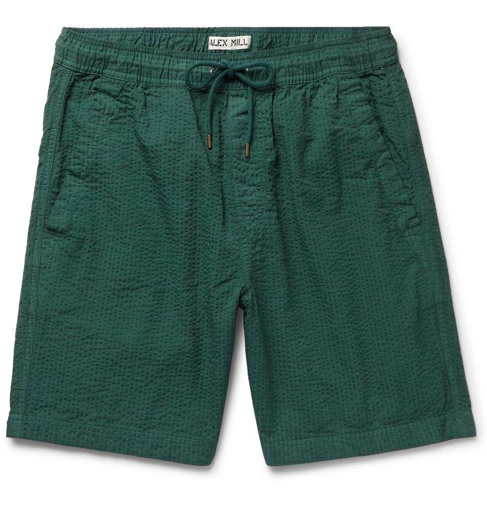 Cotton-seersucker Drawstring Shorts - Emerald