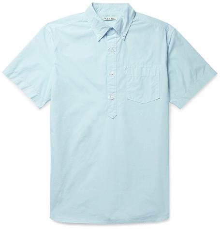 Button Down Collar Cotton Half Placket Shirt by Alex Mill