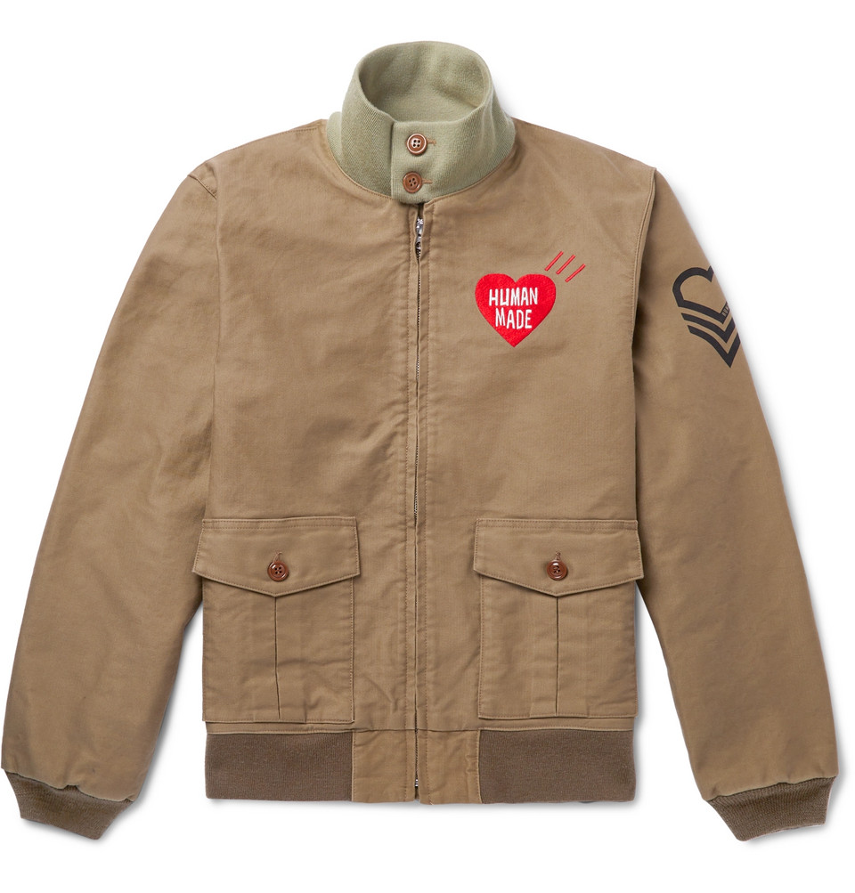 Tankers Logo-embroidered Printed Cotton-twill Bomber Jacket - Neutral
