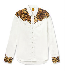 Human Made Panelled Leopard-Print Satin and Twill Western Shirt