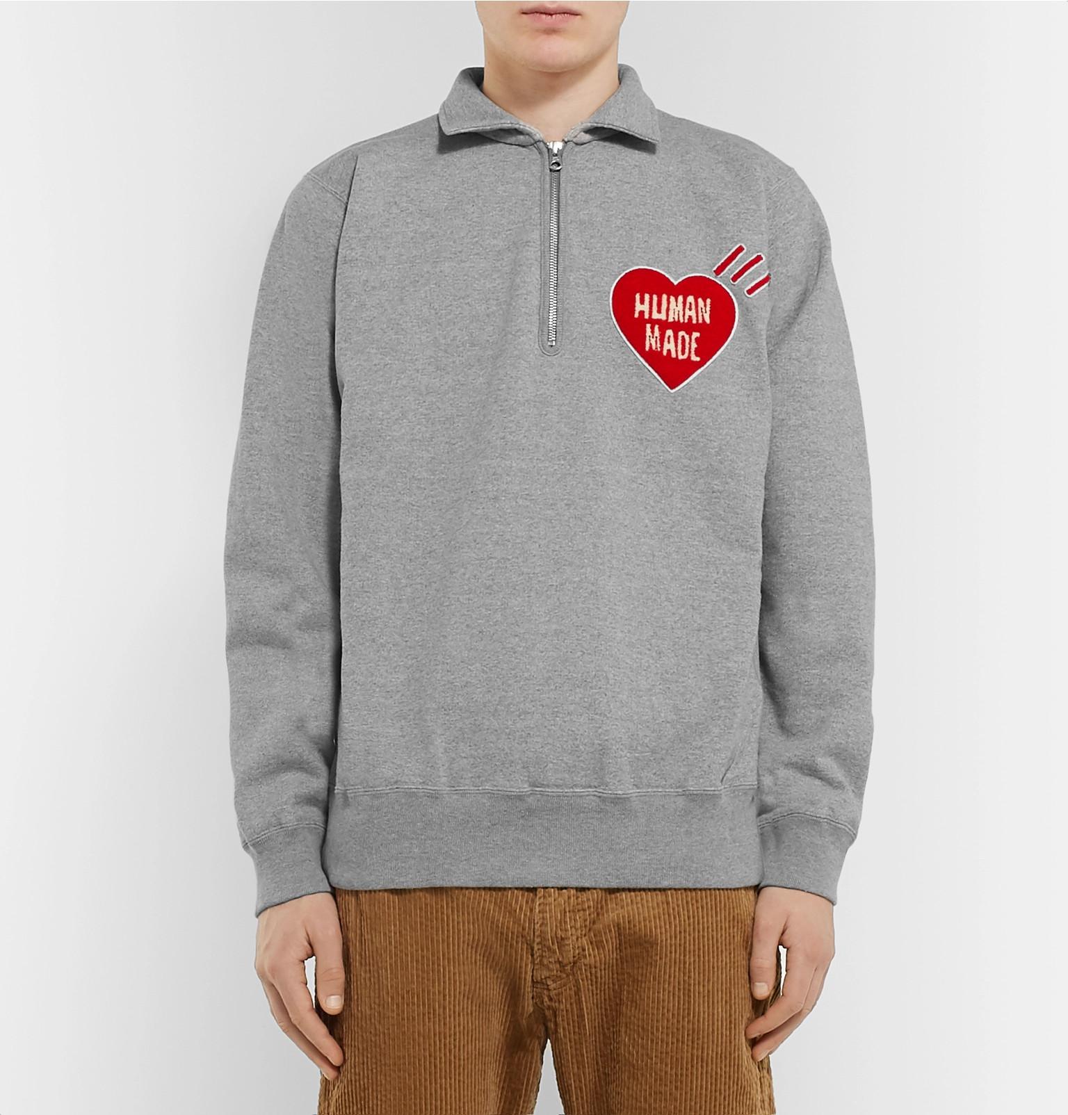 94cda88ffd869 Human Made - Logo-Appliquéd Loopback Cotton-Jersey Half-Zip Sweatshirt