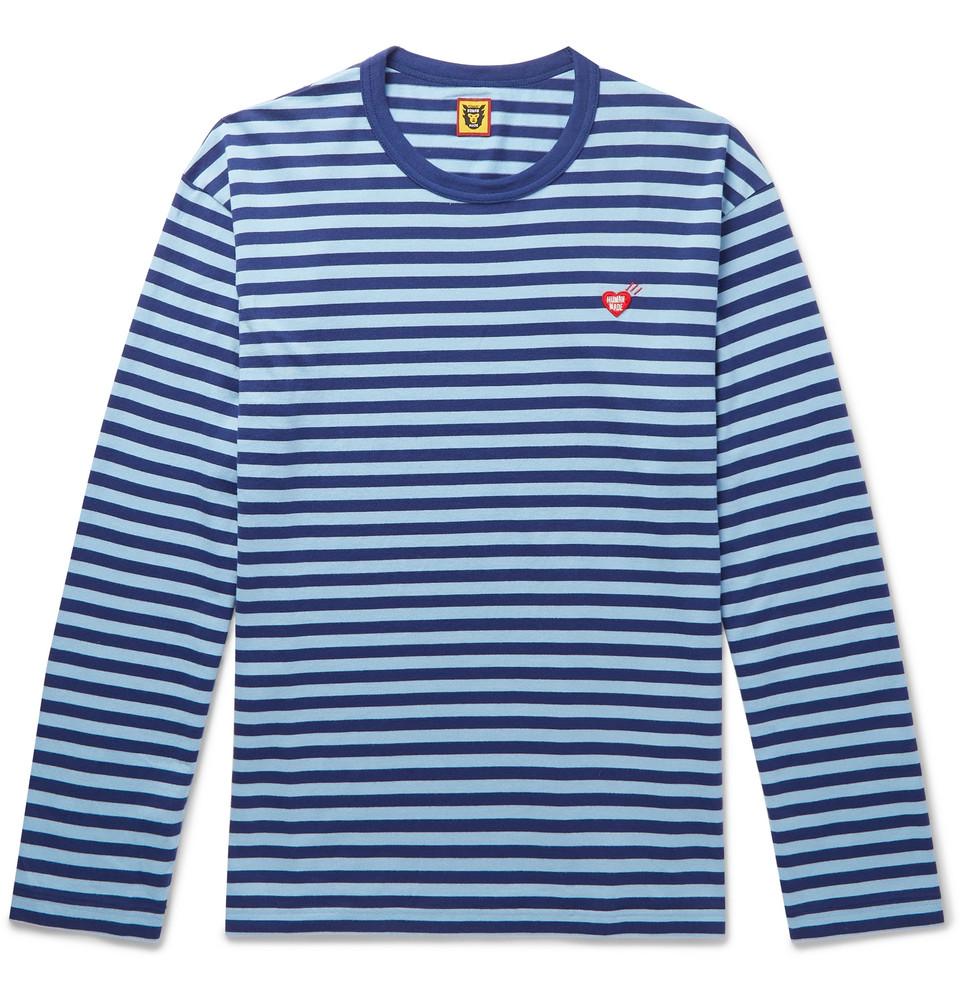 Logo-appliquéd Striped Cotton-jersey T-shirt - Light blue