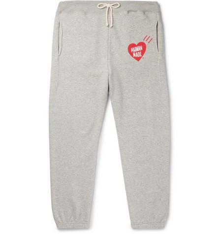 Logo Print Mélange Loopback Cotton Jersey Sweatpants by Human Made