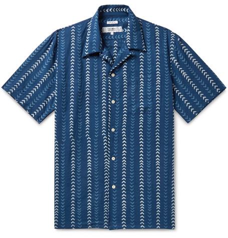 FREEMANS SPORTING CLUB | Freemans Sporting Club - Camp-Collar Indigo-Dyed Printed Cotton Shirt - Indigo | Goxip