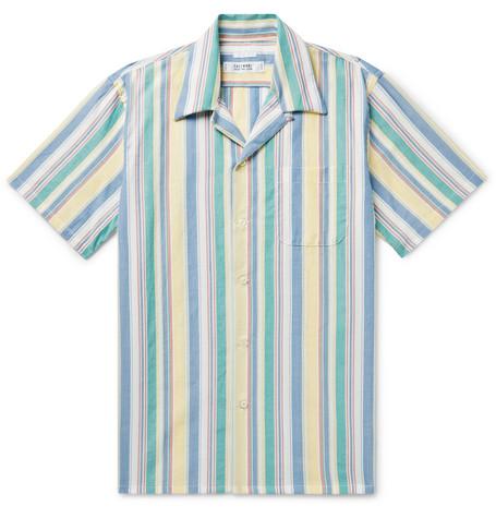 FREEMANS SPORTING CLUB | Freemans Sporting Club - Camp-Collar Indigo-Dyed Striped Cotton Shirt - Blue | Goxip