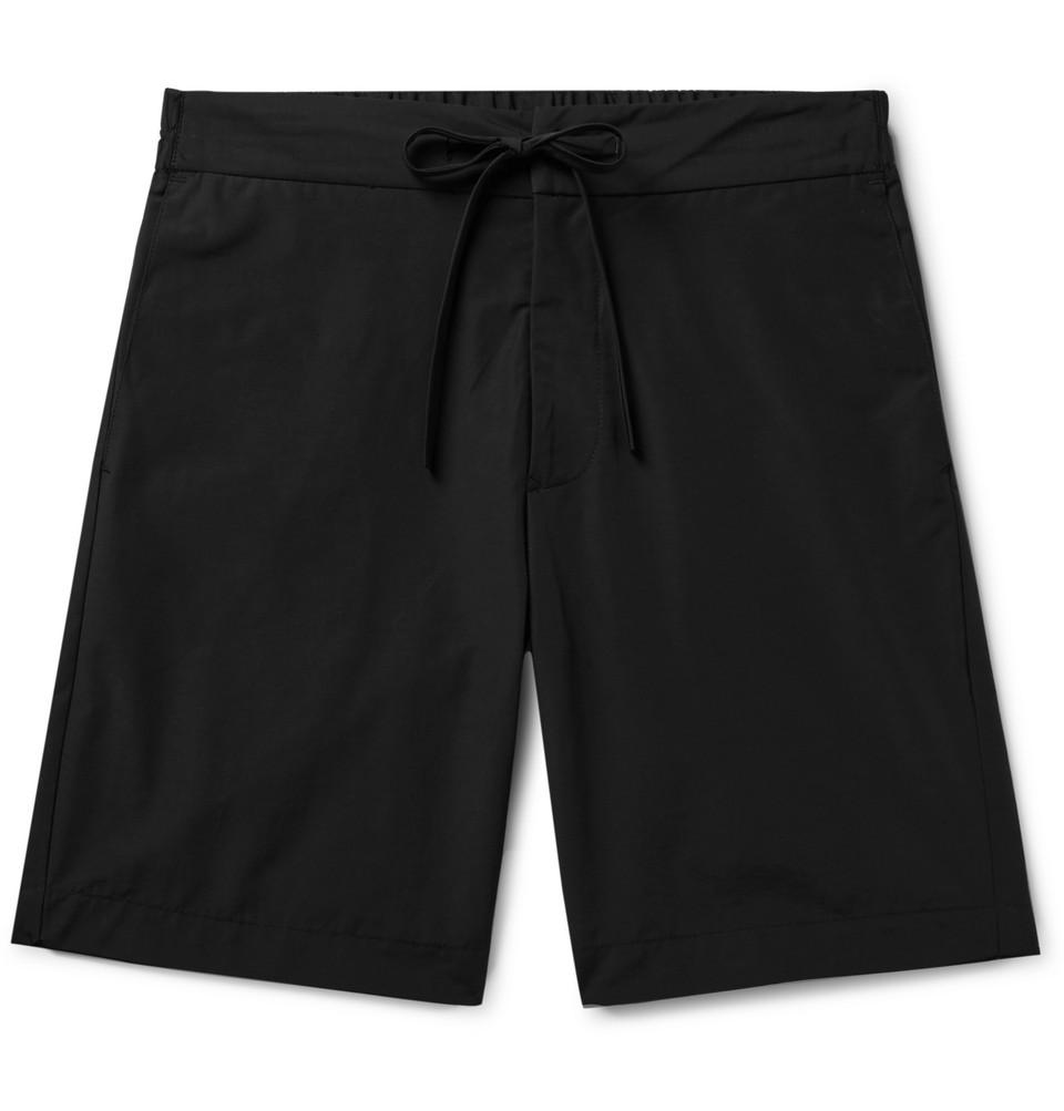 Slim-fit Cotton And Nylon-blend Drawstring Shorts - Black