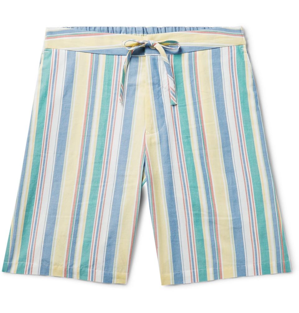 Slim-fit Striped Cotton Drawstring Shorts - Blue