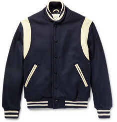 Golden Bear Leather-Panelled Virgin Wool-Blend Bomber Jacket