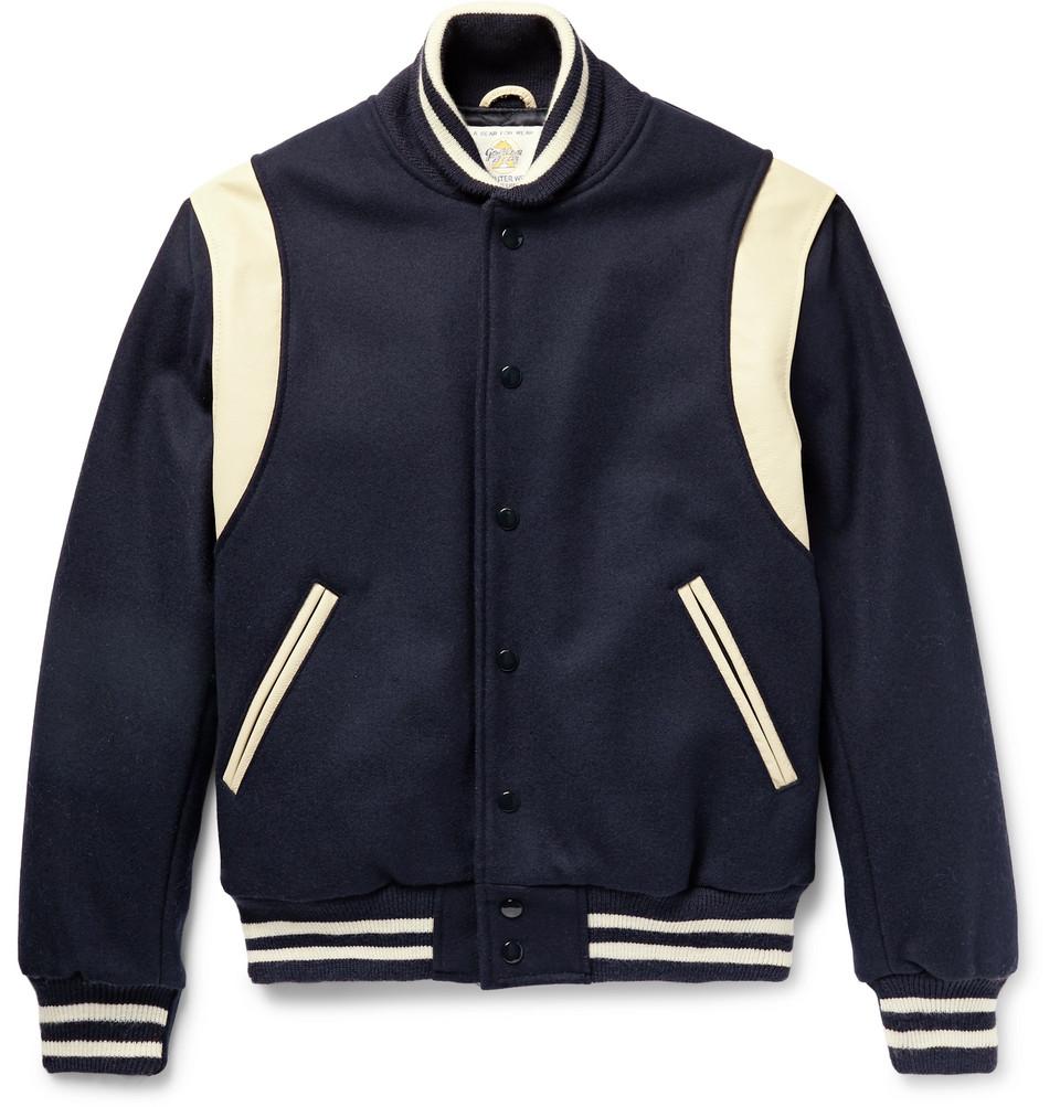 Leather-panelled Virgin Wool-blend Bomber Jacket - Blue