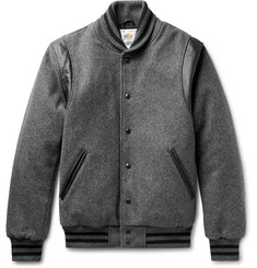 Golden Bear Leather-Panelled Mélange Virgin Wool-Blend Bomber Jacket