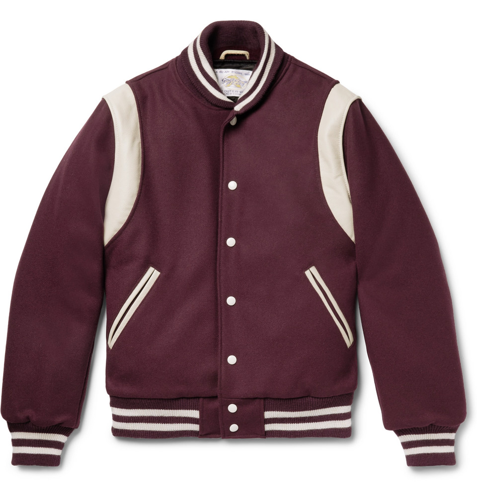 Leather-panelled Virgin Wool-blend Bomber Jacket - Burgundy