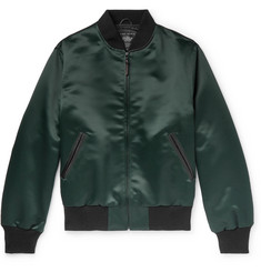 Golden Bear Leather-Trimmed Satin Bomber Jacket