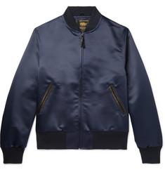 Golden Bear - Leather-Trimmed Satin Bomber Jacket