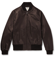 Golden Bear Leather Bomber Jacket