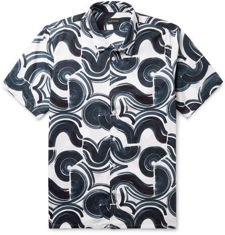 Slim Fit Button Down Collar Printed Cotton Ripstop Shirt by Club Monaco
