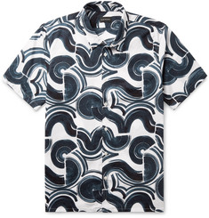 Club Monaco Slim-Fit Button-Down Collar Printed Cotton-Ripstop Shirt