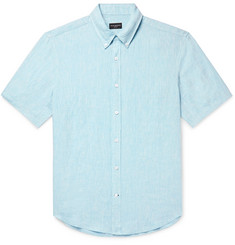 Club Monaco - Slim-Fit Button-Down Collar Slub Linen-Chambray Shirt