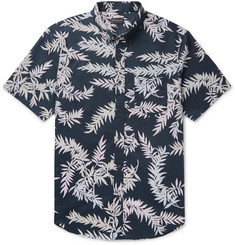 Club Monaco - Slim-Fit Button-Down Collar Printed Cotton-Poplin Shirt