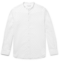 Officine Generale Grandad-Collar Printed Cotton-Seersucker Shirt