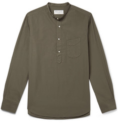 Officine Generale Grandad-Collar Washed Cotton-Poplin Half-Placket Shirt