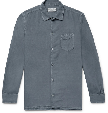 Slim Fit Pigment Dyed Cotton And Linen Blend Shirt by Officine Generale
