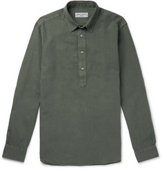 Officine Generale Auguste Slim-Fit Grandad-Collar Cotton-Poplin Half-Placket Shirt