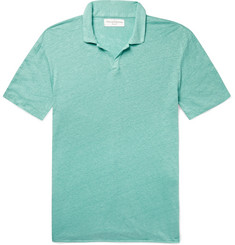 Officine Generale - Simon Garment-Dyed Slub Linen Polo Shirt