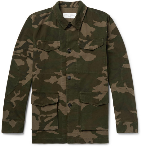 Camouflage Print Cotton And Nylon Blend Ripstop Jacket by Officine Generale