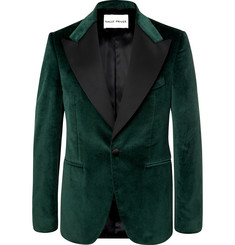 SALLE PRIVÉE Green Slim-Fit Satin-Trimmed Cotton-Velvet Tuxedo Jacket