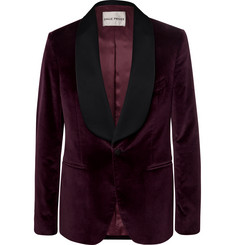 SALLE PRIVÉE Burgundy Bori Slim-Fit Satin-Trimmed Cotton-Velvet Tuxedo Jacket