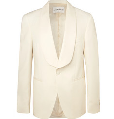 SALLE PRIVÉE - White Bori Slim-Fit Wool Tuxedo Jacket