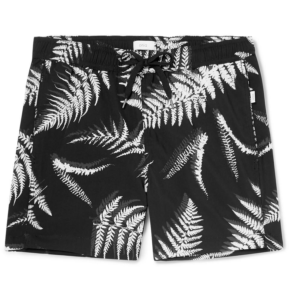 Charles Short-length Printed Swim Shorts - Black