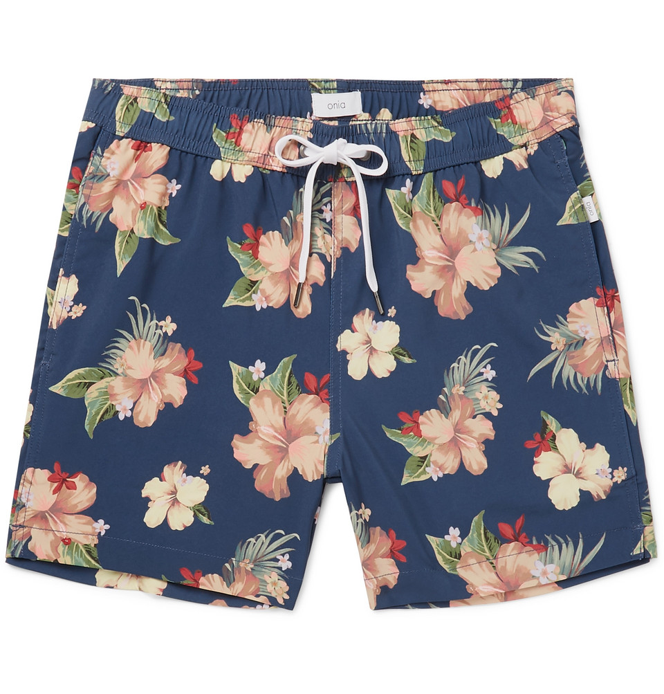 Charles Mid-length Printed Swim Shorts - Navy