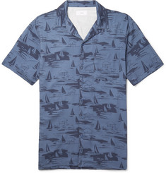 Onia Vacation Camp-Collar Printed Woven Shirt