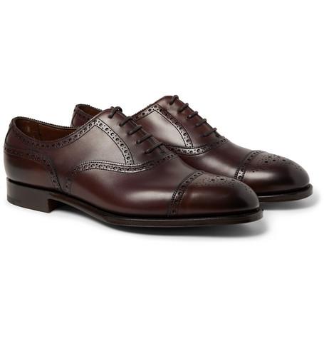 Cadogan Burnished-leather Brogues - Dark brown