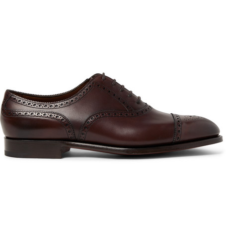 Edward Green Shoes CADOGAN BURNISHED-LEATHER BROGUES - DARK BROWN