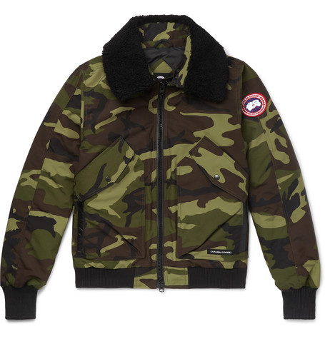 Canada Goose – Bromley Shearling-trimmed Camouflage-print Shell Down Bomber Jacket – Army green
