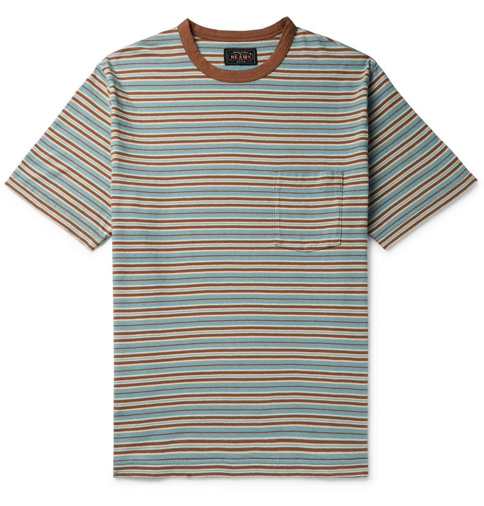 Striped Slub Cotton-jersey T-shirt - Brown