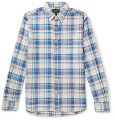 Beams Plus Button-Down Collar Checked Cotton and Linen-Blend Twill Shirt