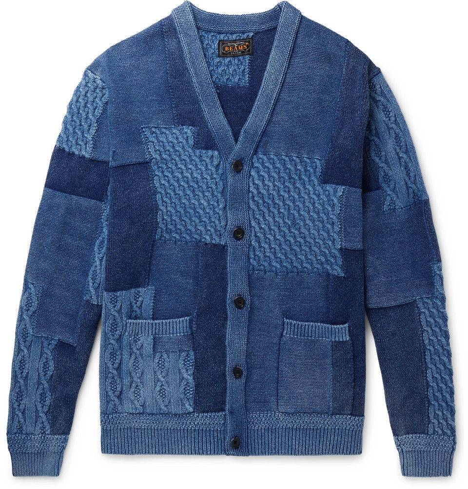 Patchwork Indigo-dyed Cable-knit Cotton Cardigan - Blue