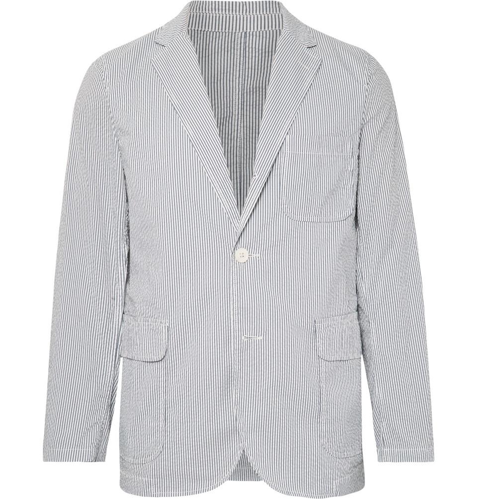 Blue Slim-fit Unstructured Striped Seersucker Blazer - Blue