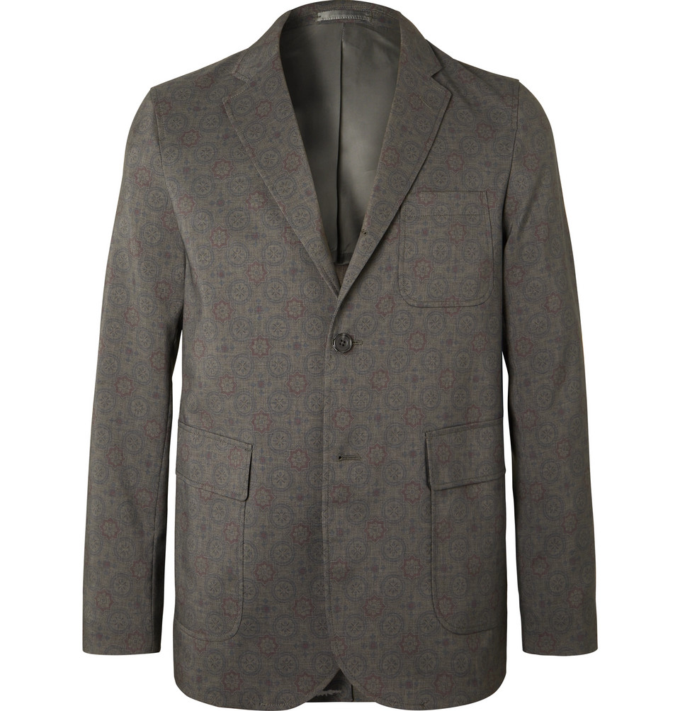 Unstructured Printed Woven Blazer - Gray