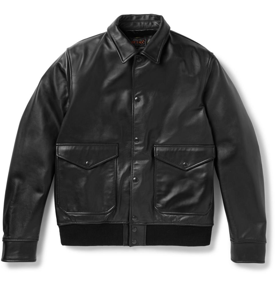 Leather Blouson Jacket - Black