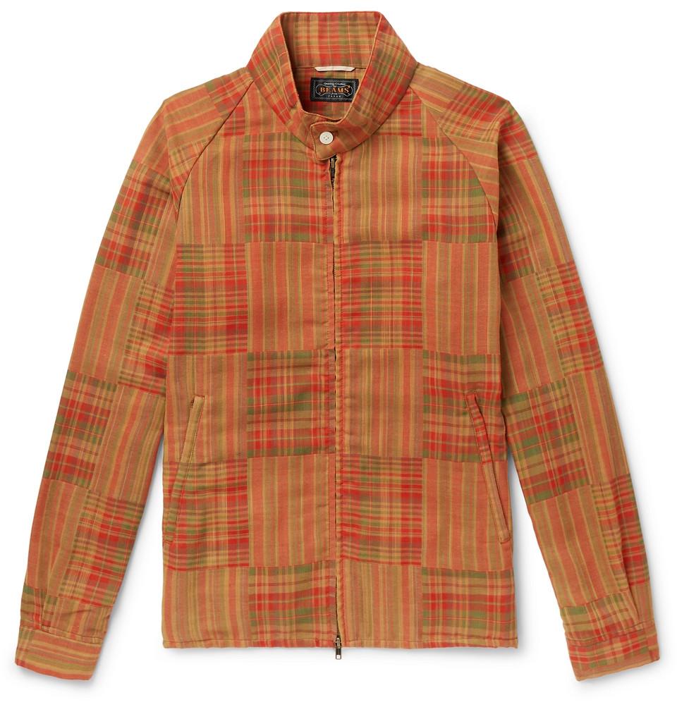 Madras-checked Woven Blouson Jacket - Orange