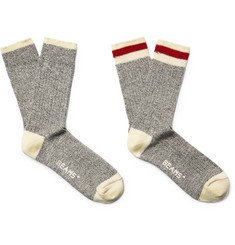 Beams Plus Two-Pack Ribbed Mélange Cotton-Blend Socks
