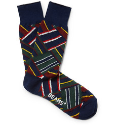 Beams Plus Patchwork Striped Knitted Socks
